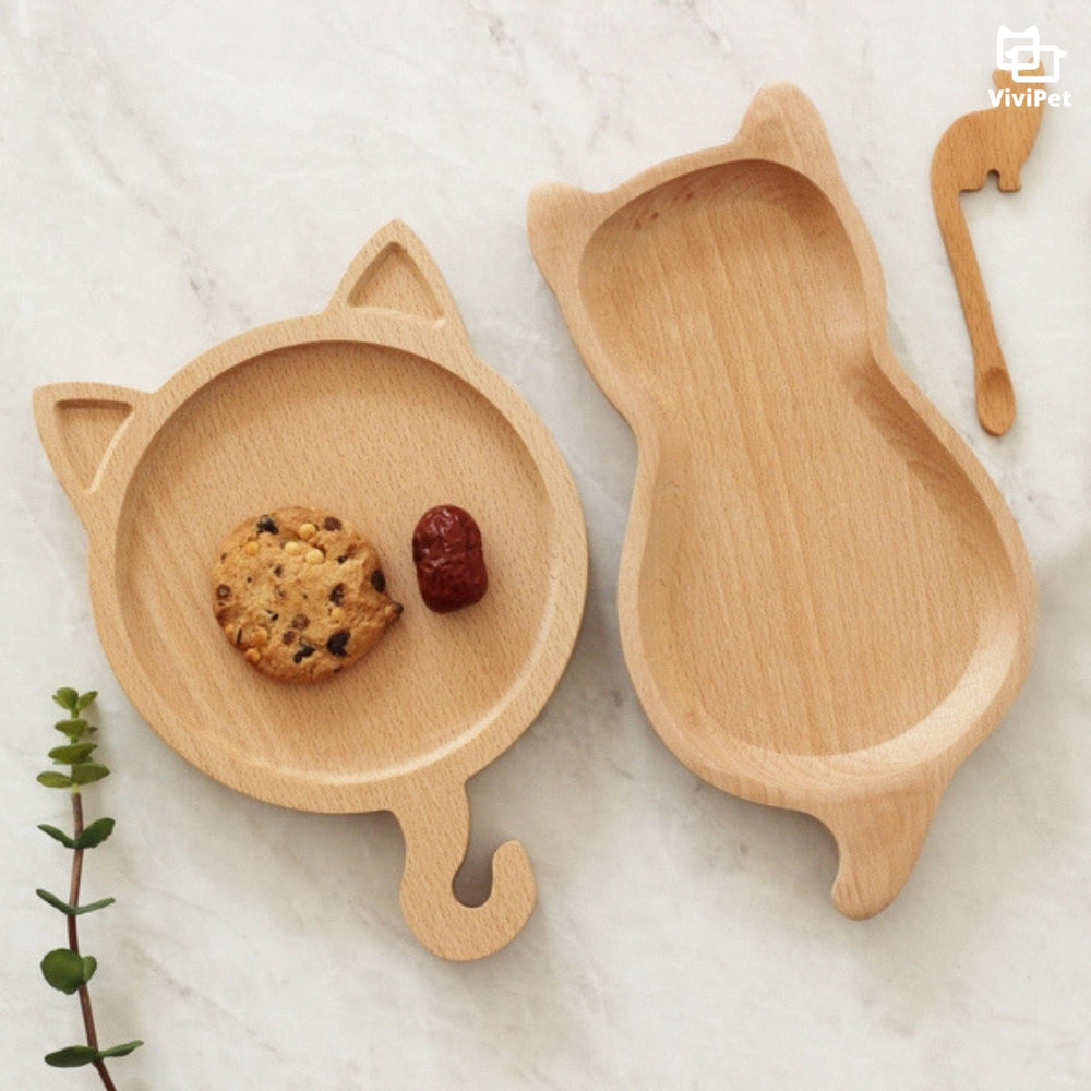 ViviCat Selected | Cat-Shaped Wooden Plate - VIVIPET