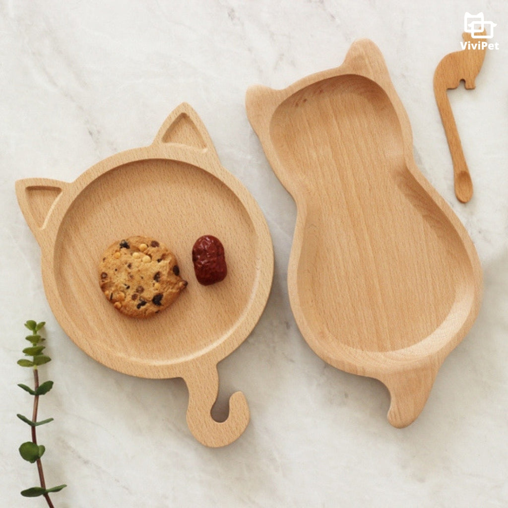 ViviPet Cat-Shaped Wooden Plate