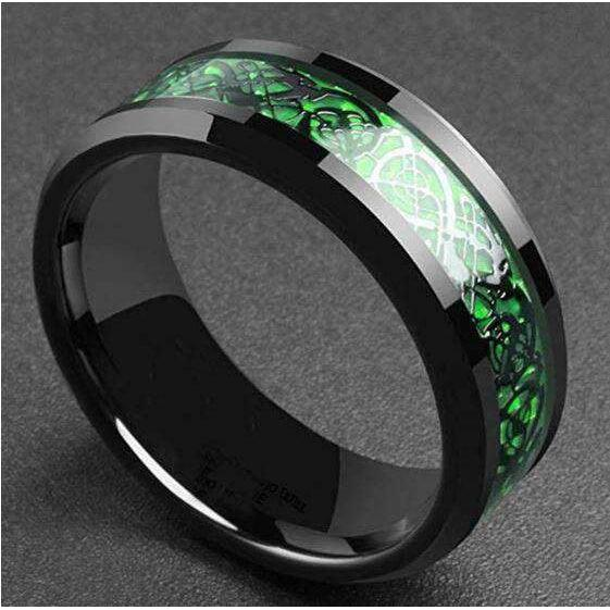Black Green Dragon Knot Band (R069)-Ring-Viking Merch