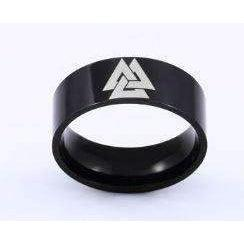 Black Valknut Band (R072)-Ring-Viking Merch
