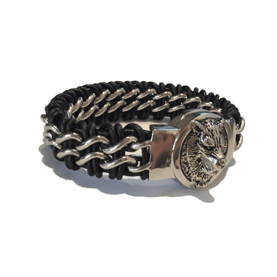 Braided Steel and Leather Fenrir Wolf Bracelet (B016)-Bracelet-Viking Merch