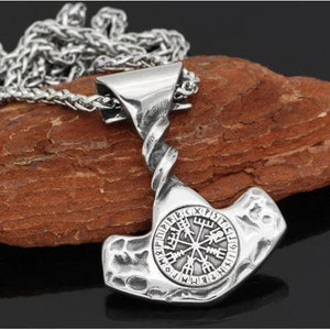 Hammered Vegvisir Thor Hammer Necklace-Necklace-Viking Merch