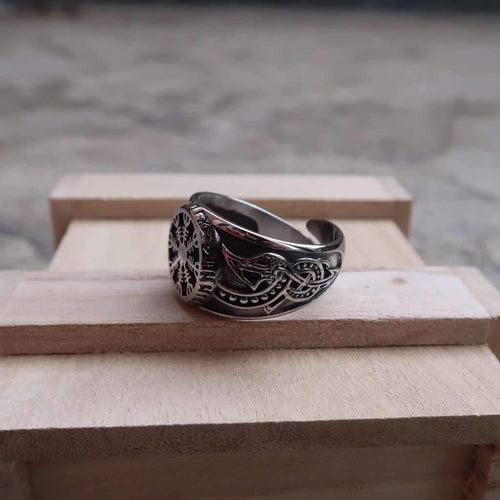 Legendary Helm of Awe Adjustable Viking Ring (R062)-Ring-Viking Merch