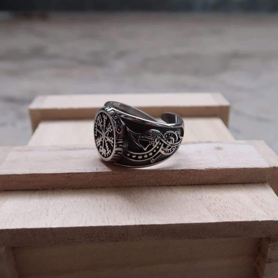 Legendary Vegvisir Adjustable Viking Ring (R065)-Ring-Viking Merch