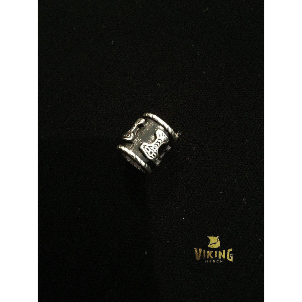 Mjolnir Thor's Hammer Viking Beard Ring (BR010)-Beard Ring-Viking Merch