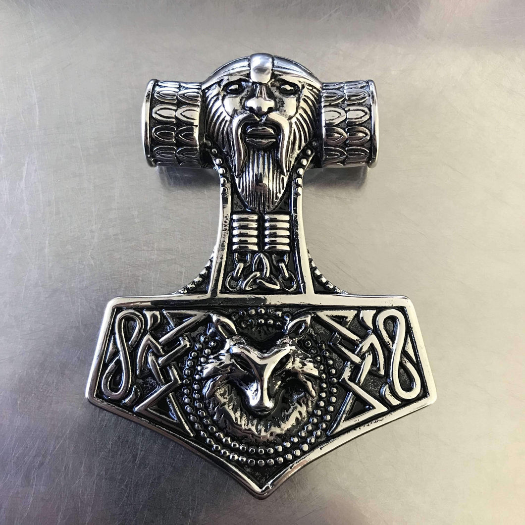 Odin and Wolf Thor's Hammer (TH076)-Necklace-Viking Merch