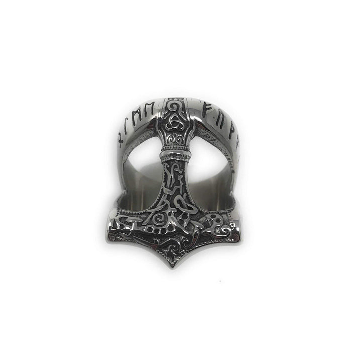 Runic Mammen Thor Hammer Ring (R008)-Ring-Viking Merch