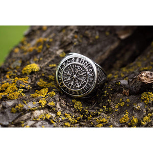 Runic Vegvisir Valknut Ring (R032)-Ring-Viking Merch