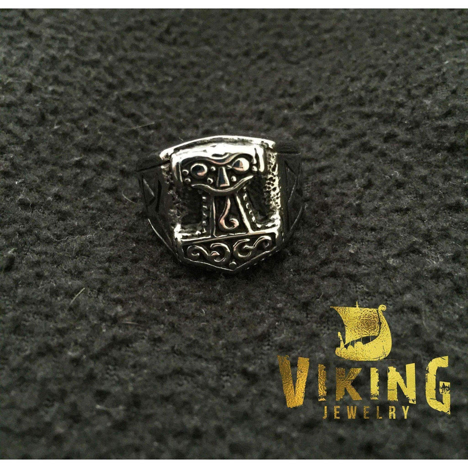 Thor Hammer Rune Ring (R015)-Ring-Viking Merch