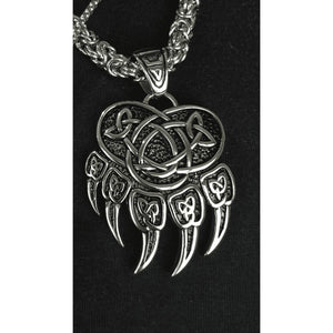 Warding Veles Print Bear Paw Necklace Pendant (VN085)-Necklace-Viking Merch