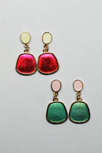 Geometric Enamel Drop Earrings