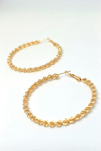 Textured, Twisted Gold Metal Hoops