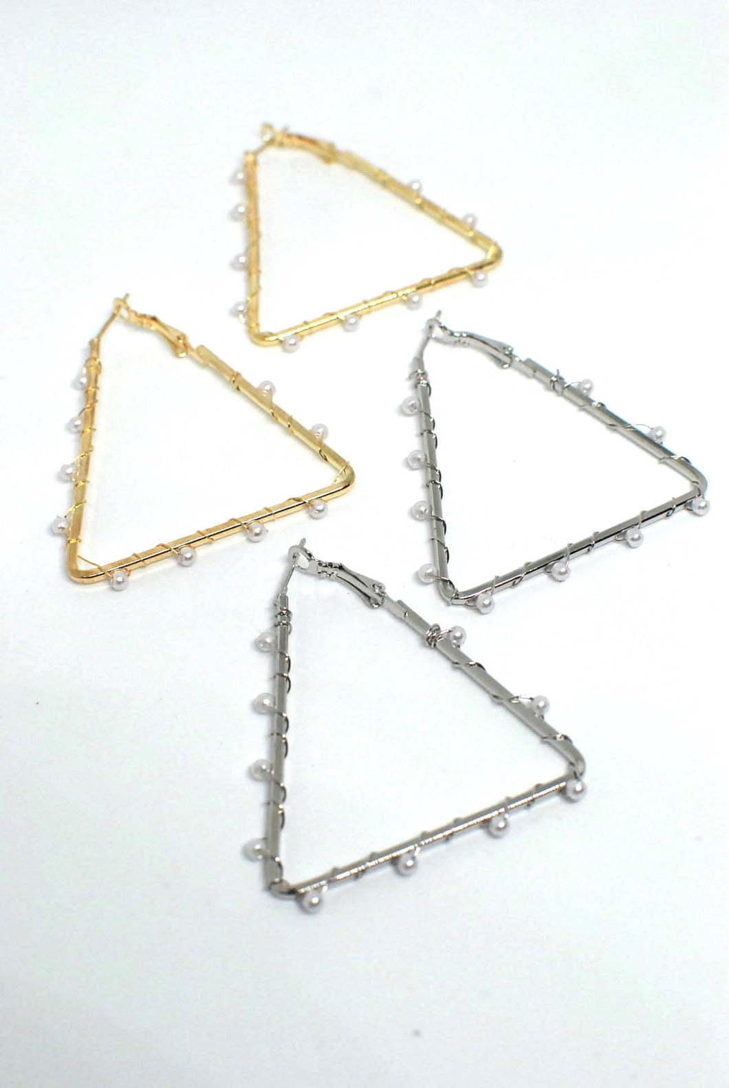Triangle Shaped Earrings with Wired Pearl Detail