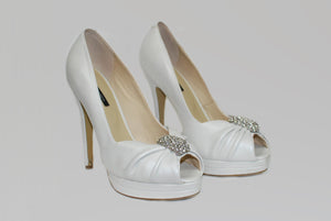 Tony Bianco Brand Cream Leather Peep-Toe