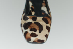 Lloyd Germany Brand Leopard Fur Square Toe Heel