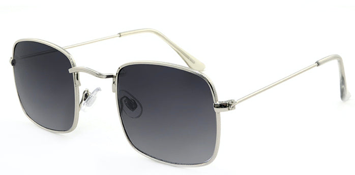 Retro Square Silver Smokey Sunglasses