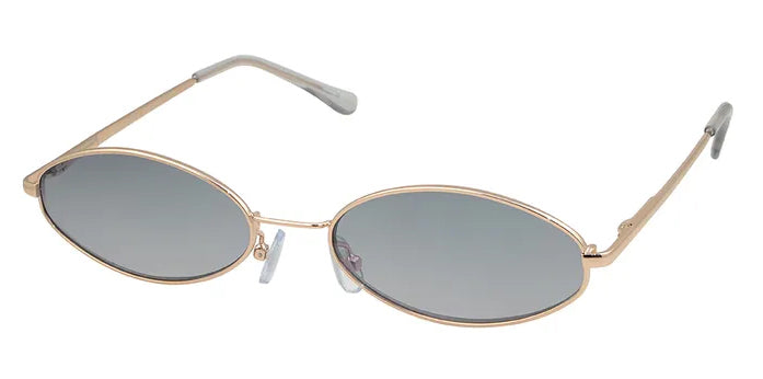 Narrow Oval Gold Smokey Green Sunglasses