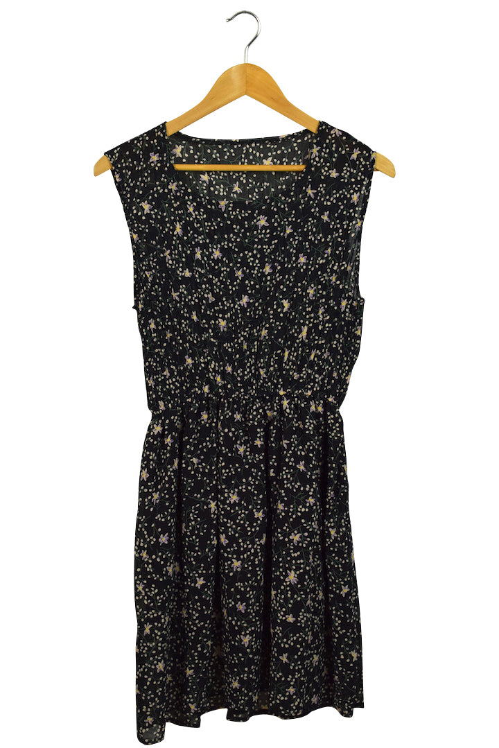 Reworked Black Rayon Floral Print Dress