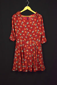 Red Abstract Floral Print Dress