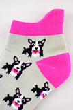 NEW Grey and Pink Bow Tie Dogs Anklet Socks