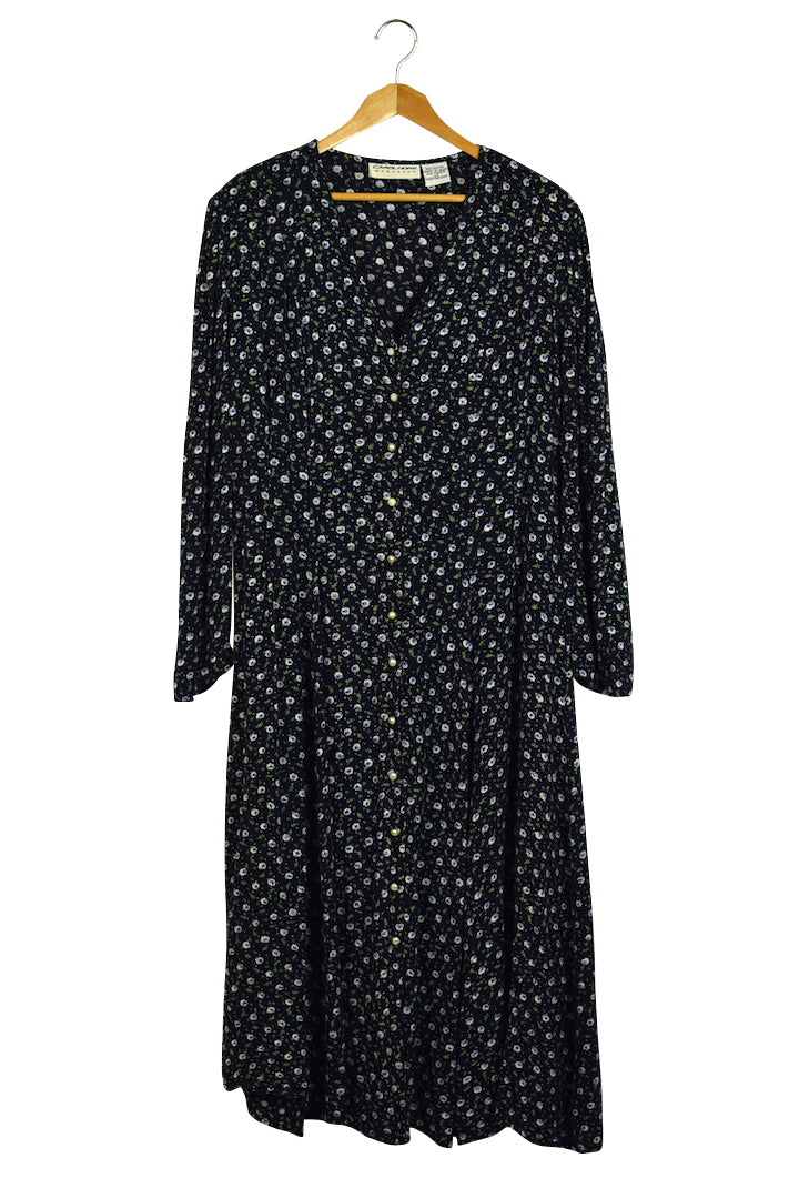 Carol Horn Brand Navy Dress with Violet Print Dress