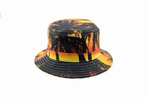 NEW Palm Tree Sunset Print Bucket Hat