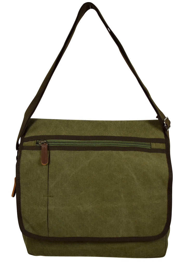 NEW Canvas Satchel Bag with Brown Detail