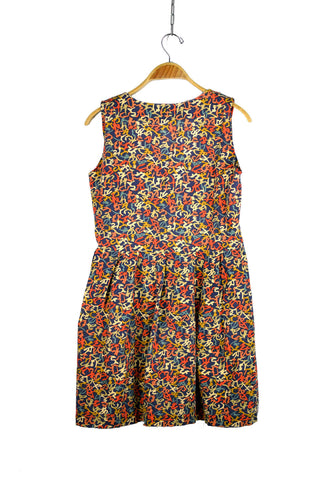 Vintage Dress With Scribble Style Print