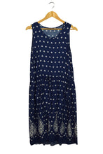 Load image into Gallery viewer, Tapa Brand Navy Dress with Paisley Border