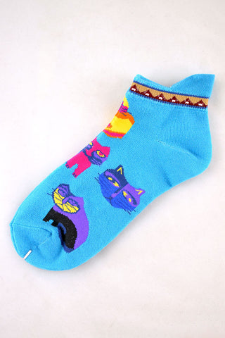 NEW Blue Folk Art Cats Anklet Socks