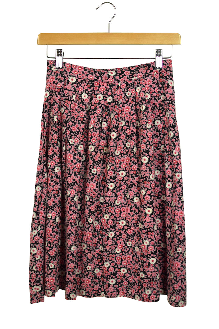 Reworked Pink Daisy Print Skirt