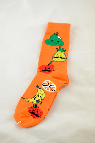NEW Orange Moustache Fruit Socks