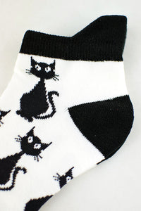 NEW Spooky Cats Black and White Anklet Socks