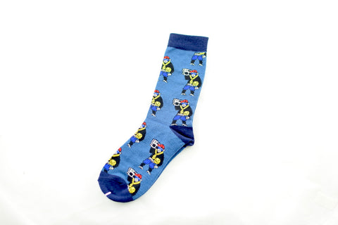 NEW Monkeys Holding Bomboxes Blue Socks