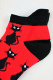 NEW Spooky Cats Black and Red Anklet Socks