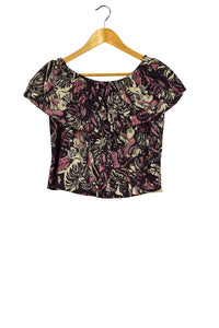 Reworked Off The Shoulder Psychedelic Leaf Print Crop Top