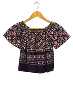 Load image into Gallery viewer, Reworked Off The Shoulder Folk Floral Print Crop Top