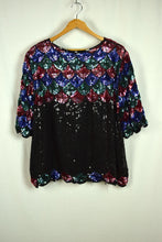 Load image into Gallery viewer, 80s Rainbow Mermaid Scale Sequin Oversized Blouse