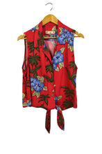 Load image into Gallery viewer, Caribbean Joe Brand Sleeveless Tie-Up Hawaiian Blouse