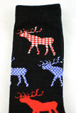 NEW Deer Patterned Black Socks