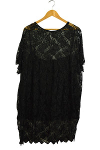 Plus Size Black Beaded Lace Top