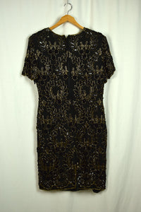 80s Floral Paisley Sequin Dress