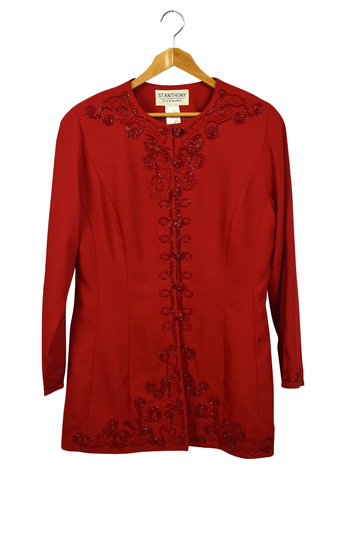 Ladies Red Beaded Jacket