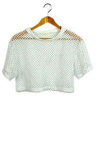 NEW Mesh Crop Top White