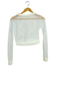 NEW Mesh Crop Top White with Long Sleeves