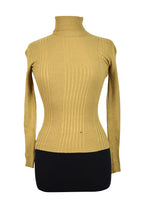Load image into Gallery viewer, Ladies Vicinity Brand Camel Ribbed Turtle Neck Jumper
