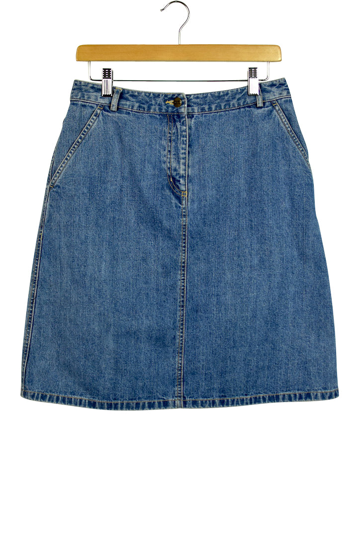 LL Bean Brand Blue Denim Skirt