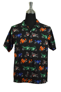 Novelty Motorcycle Print Party Shirt