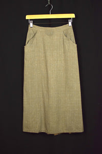 1960s Taupe Grey Pencil Skirt