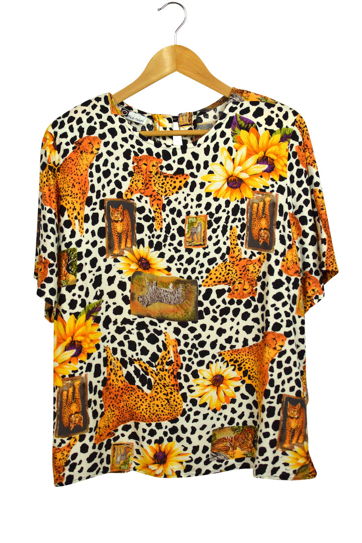 80s Office Hours Brand Leopard Top